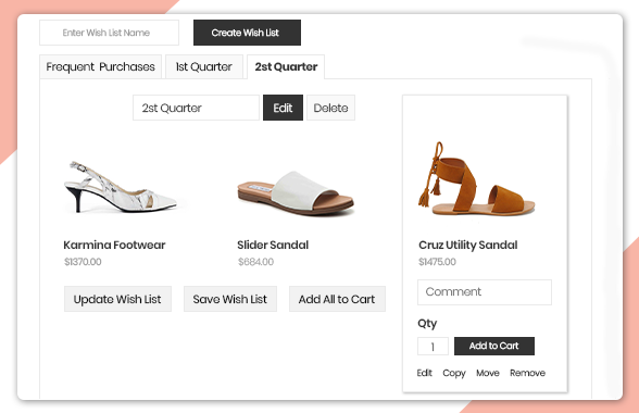 Manage items in multiple wishlist Magento 2