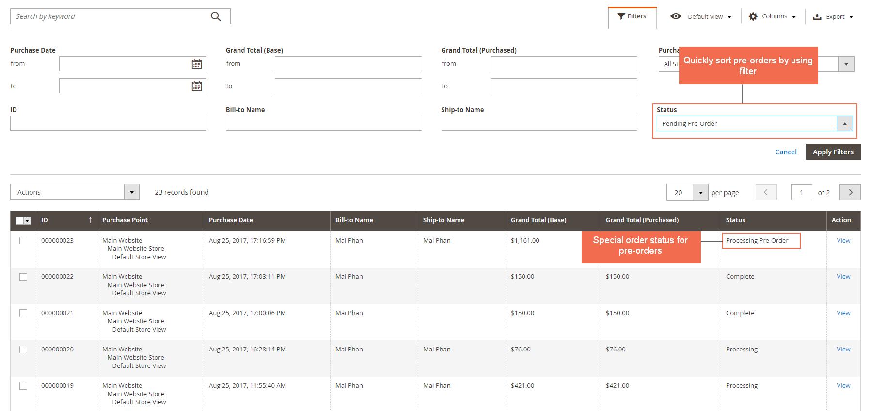 Pre orders in order grid table
