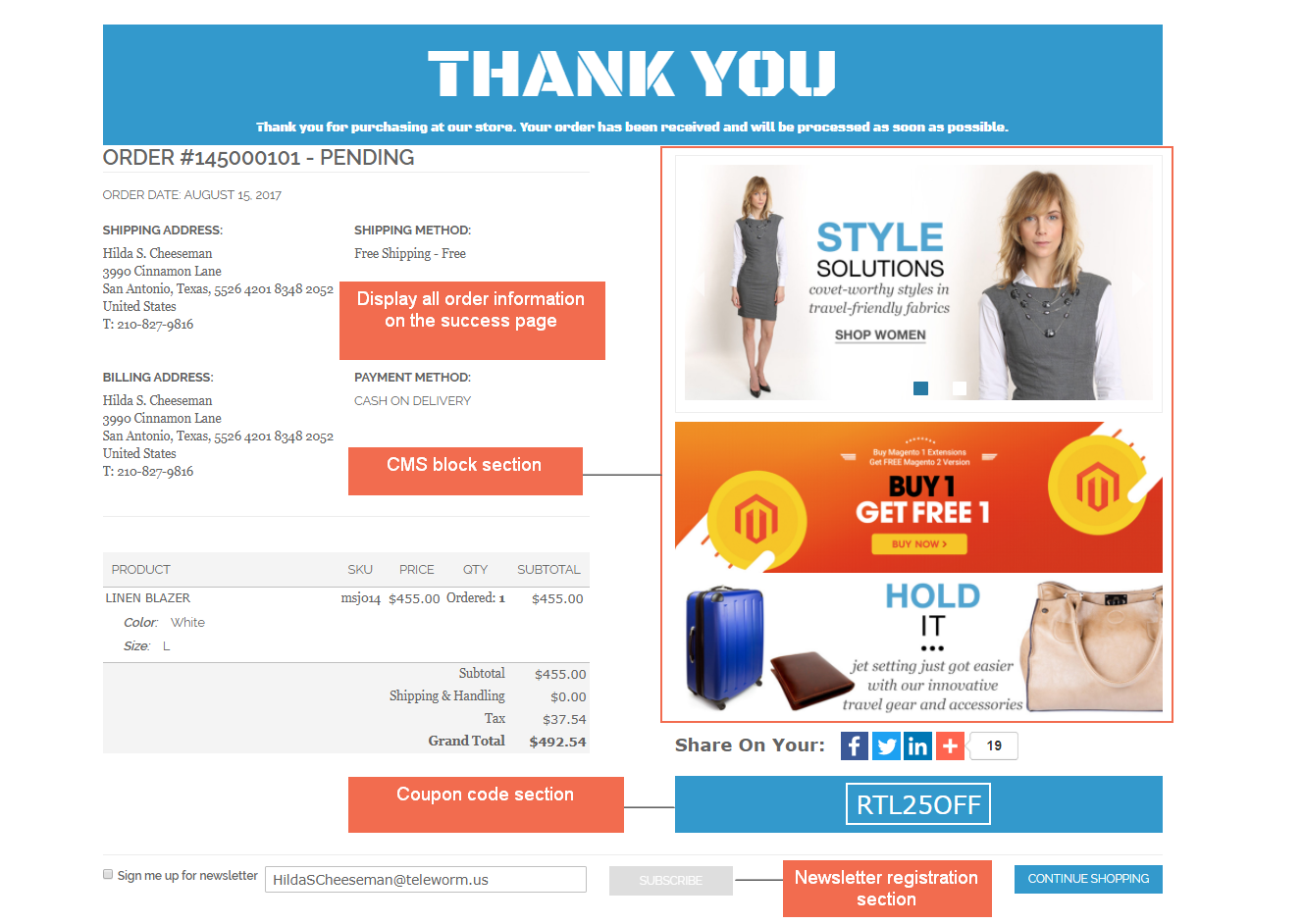 Display order information Magento checkout success page extension