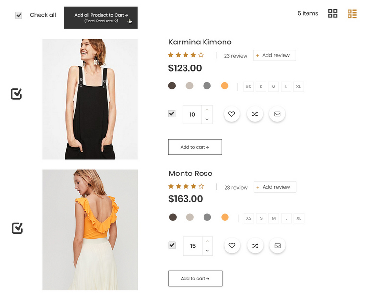 Select multiple products to cart at one time by using checkbox, quantity box and selected icon