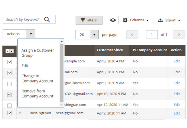 Manage sub-users in customer dashboard