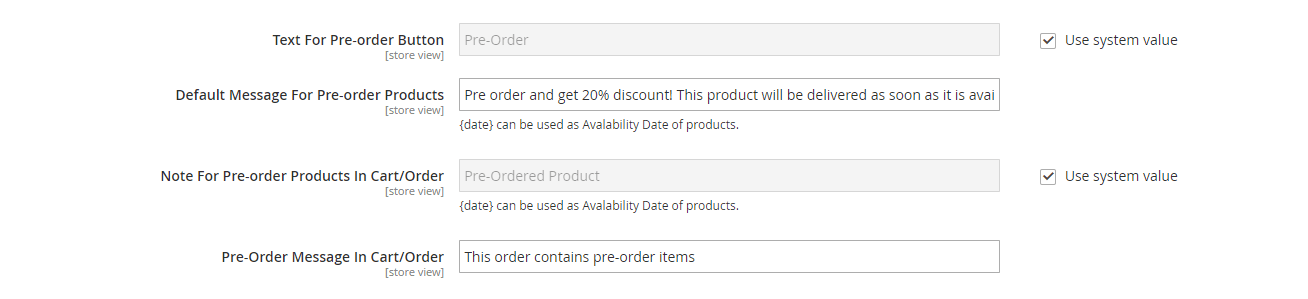 Edit texts for pre-order product
