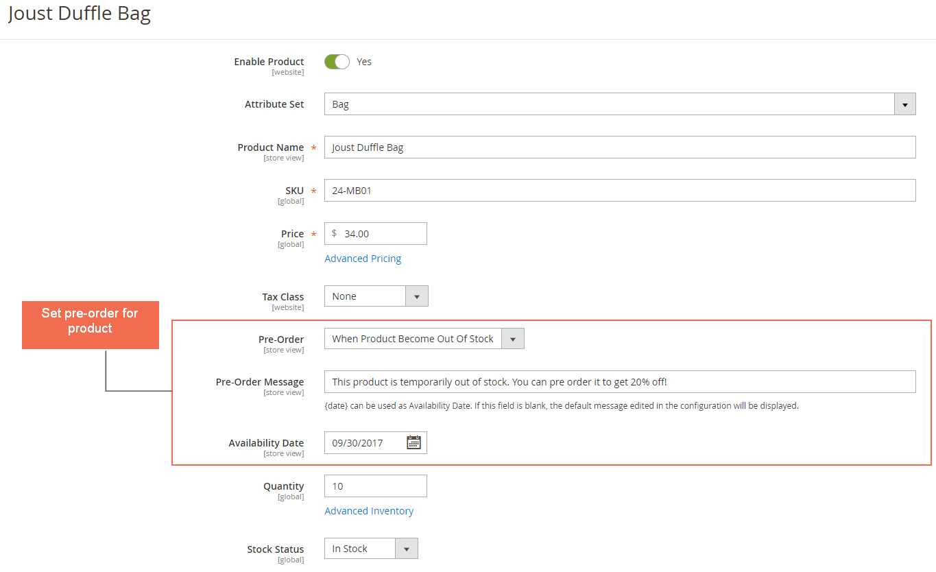 Set pre-order product in product details page