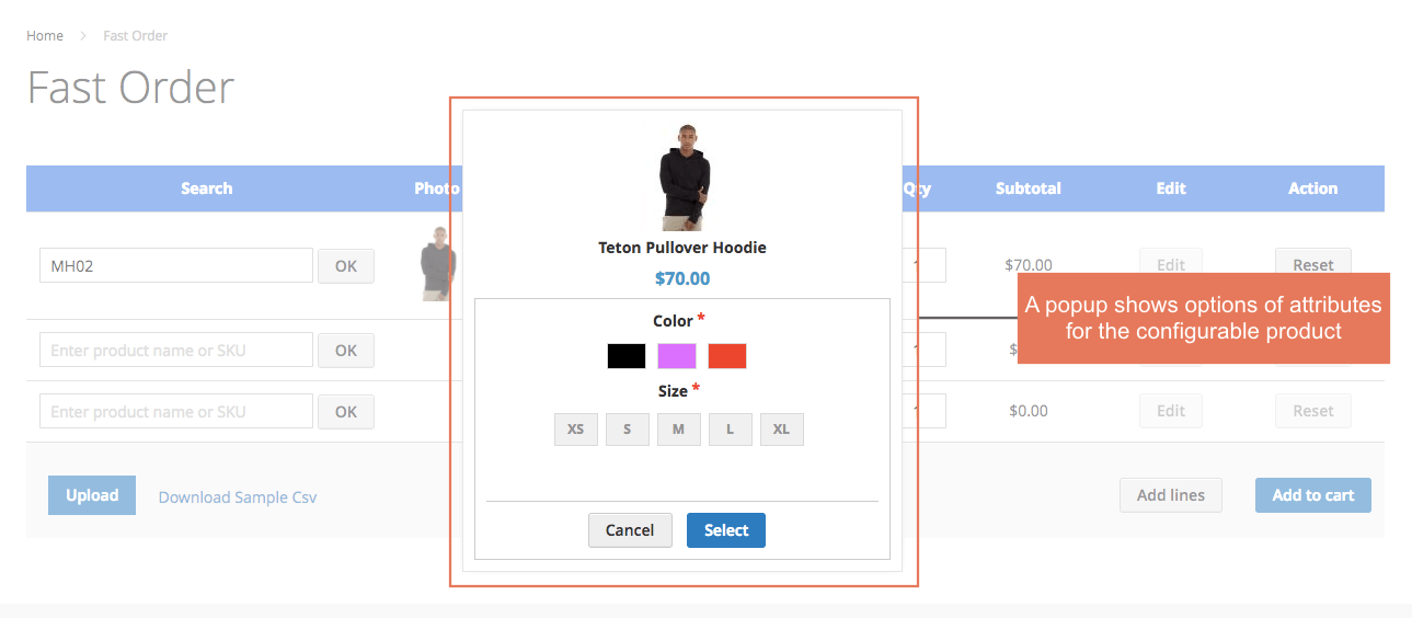 Display a popup including attributes and custom options of configurable products for customers to select