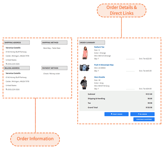 Configuration of displaying information with Magento 2 checkout success page extension