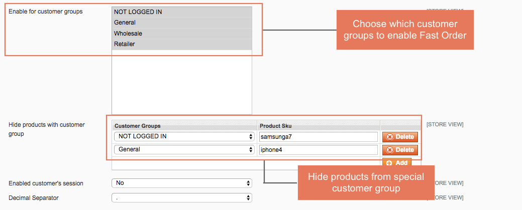 Enable to choose which customer groups to apply Wholesale Fast Order function on