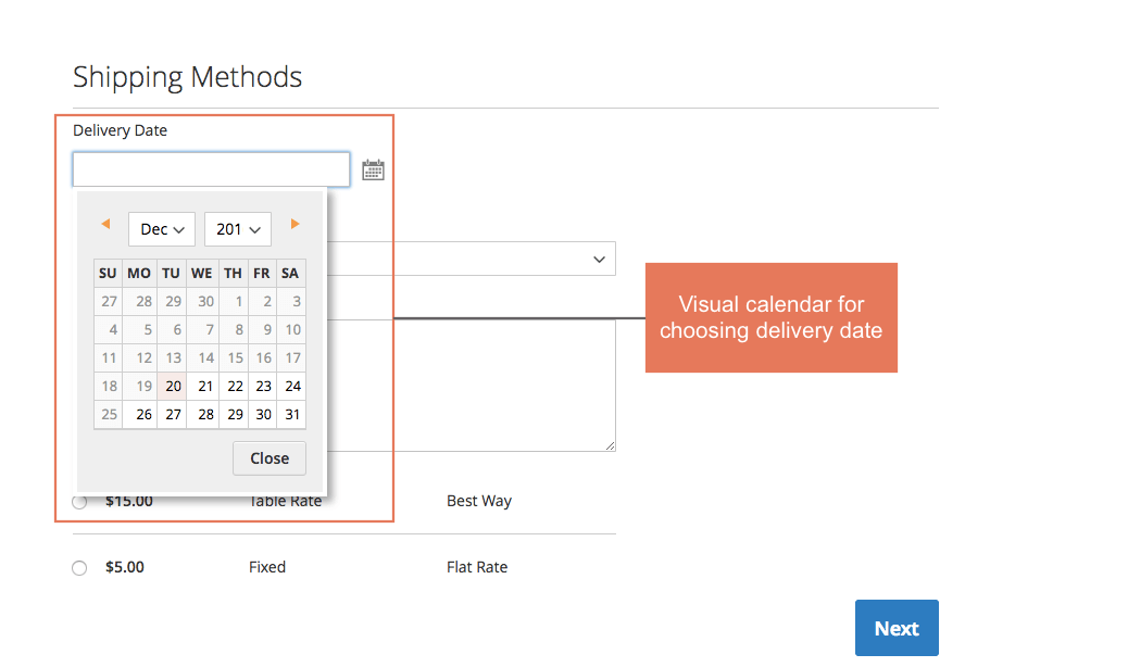 Magento 2 Order Delivery Date and Time extension chooses dates and time