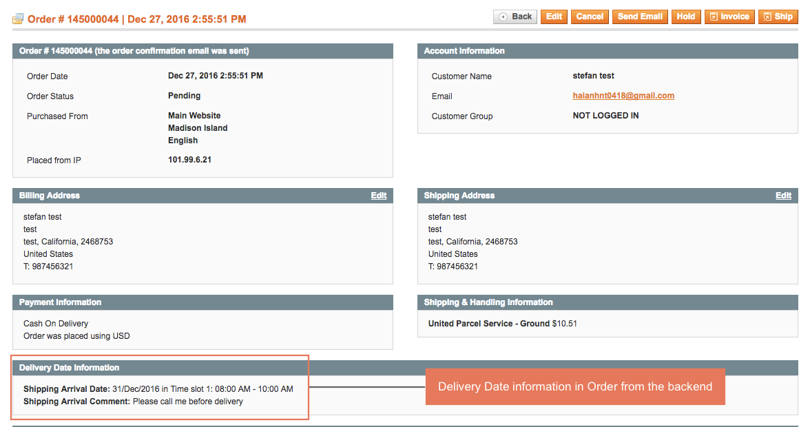 Delivery date information in Orders from the backend
