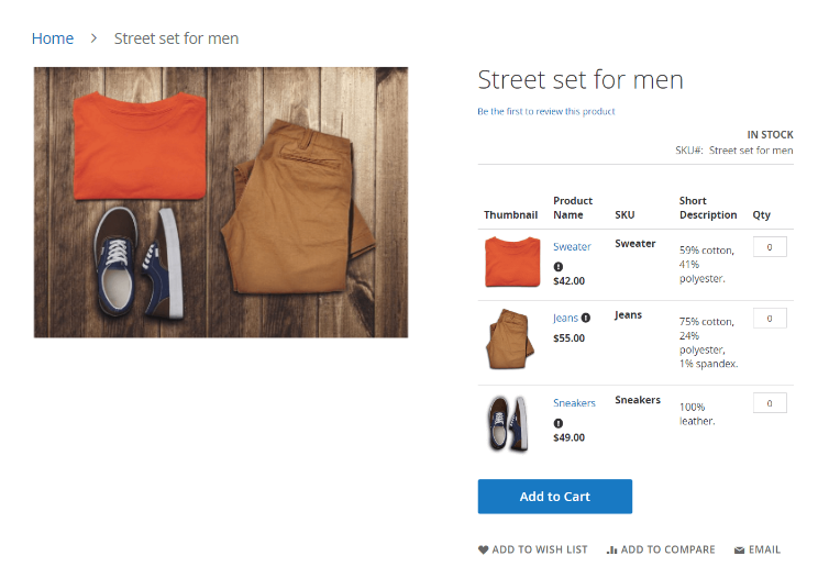 Magento 2 Simple Details on Grouped Product extension shows grouped product details in a grid view