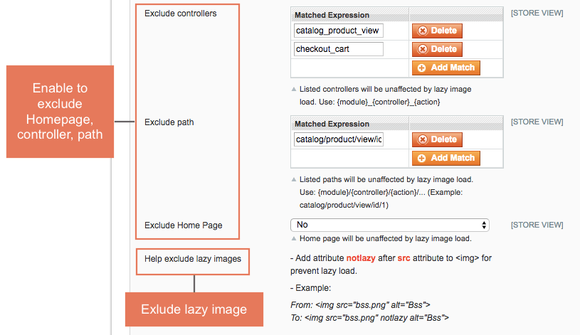 Exclude Magento Homepage, controllers and paths as wish