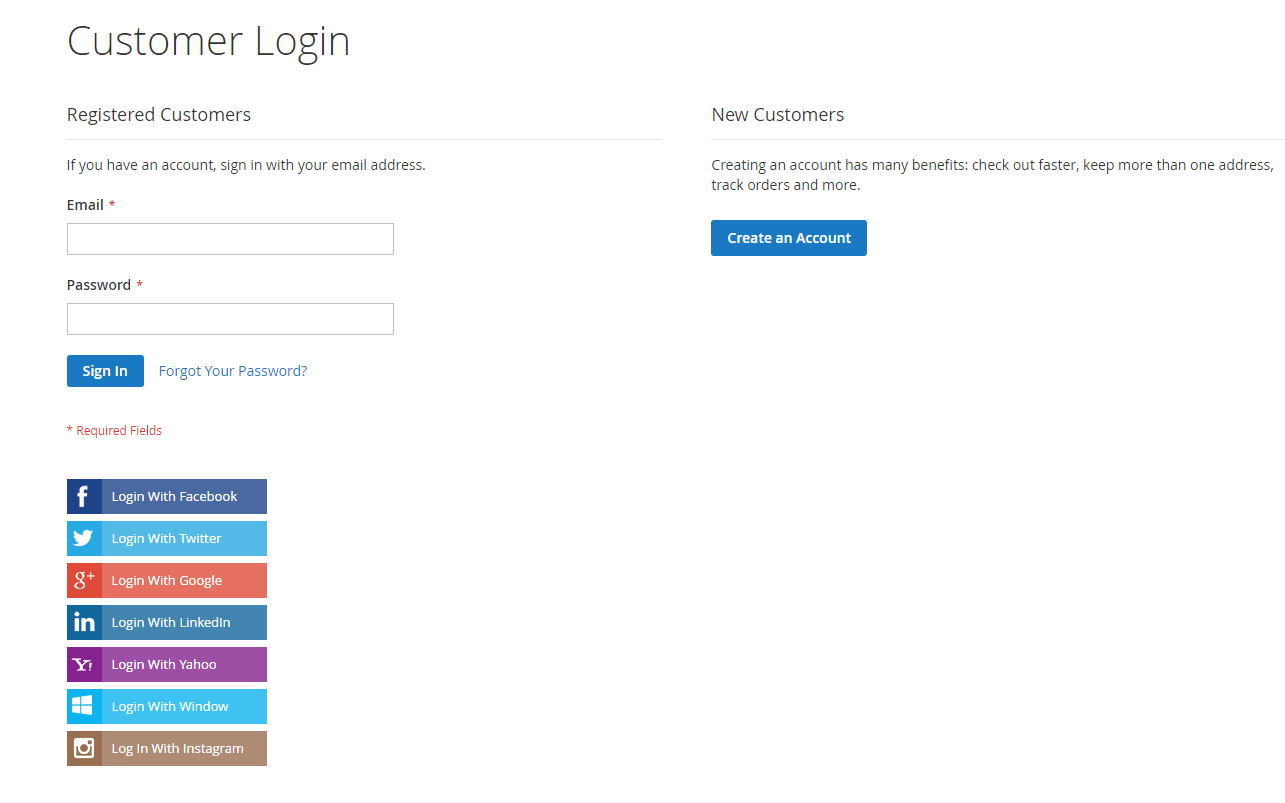 Magento_2_Social_Login_extension_social_button_on_Login_page