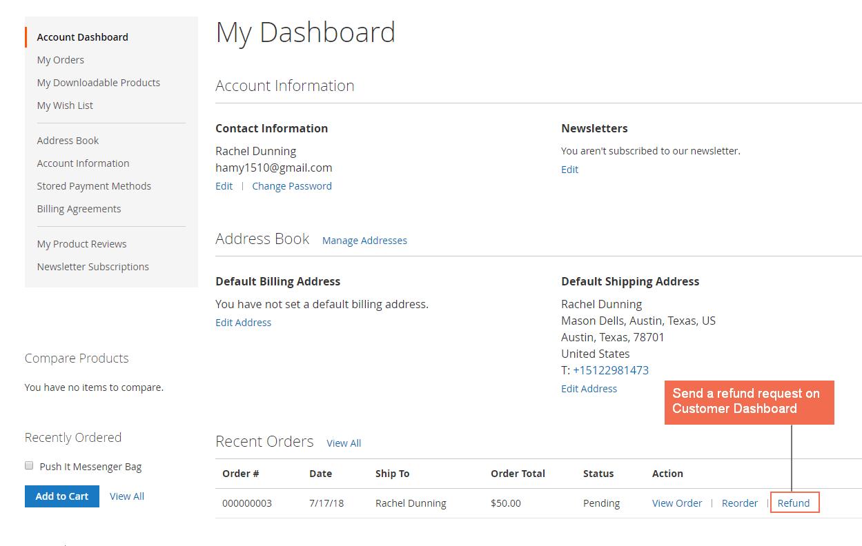 refund request customer dashboard