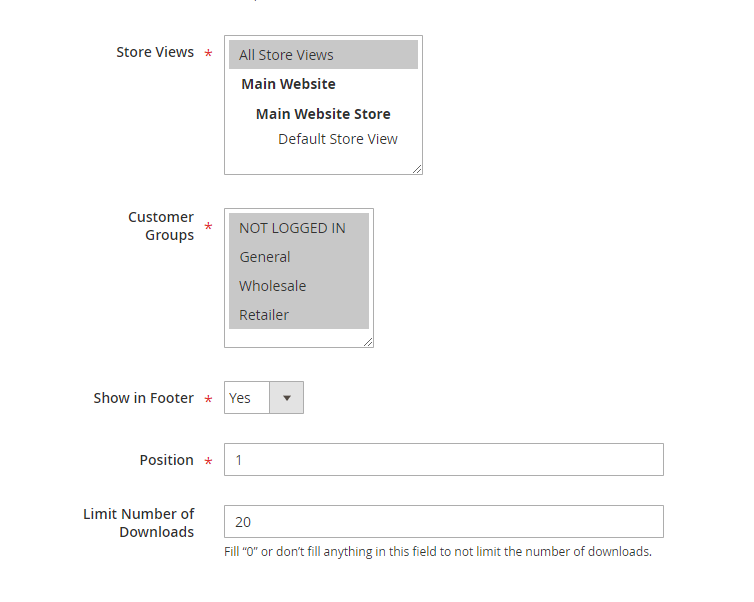 magento product attachments - assign for customer groups