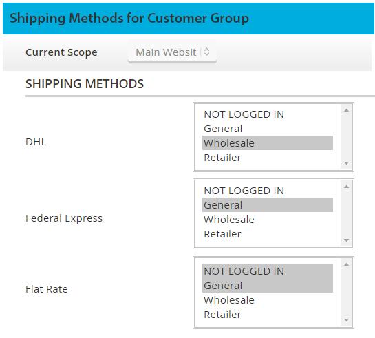 magento 2 shipping methods per customer group