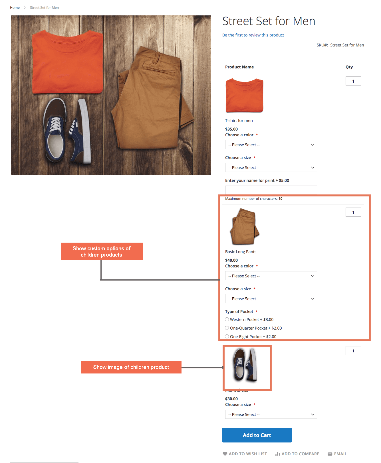 Magento 2 Grouped Product Custom Options Extension shows options of simple products