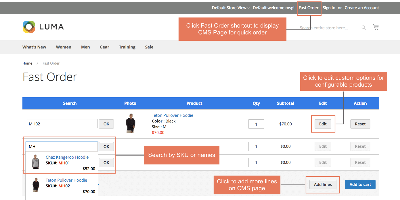 Quick order through a CMS Page in Magento stores