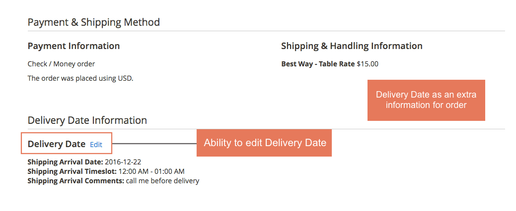 magento 2 order delivery date - backend