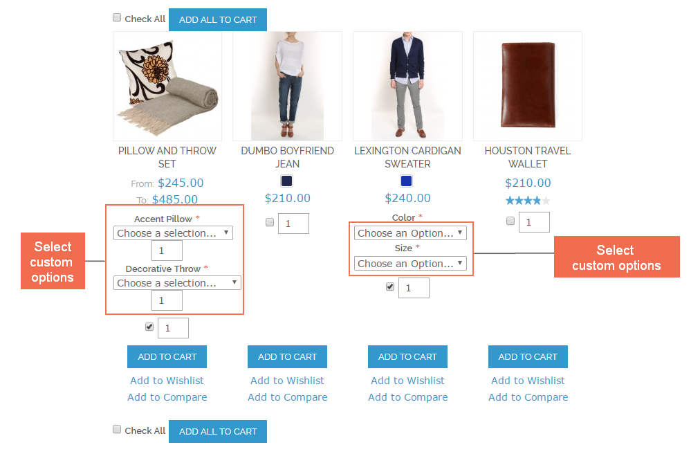 Custom options will be displayed after selecting product by checkbox