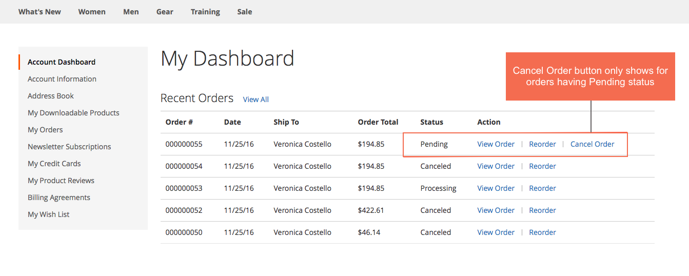 Allow customers to cancel orders from the frontend