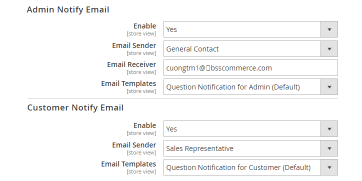 magento 2 product questions notify email