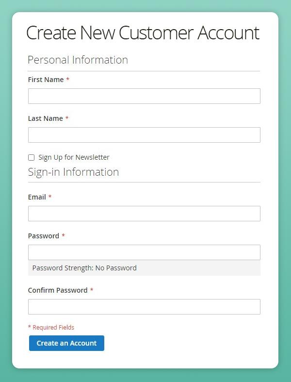 Basic B2C customer registration