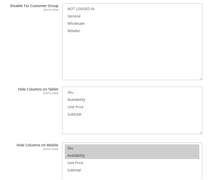 magento 2 configurable product grid view - hide column
