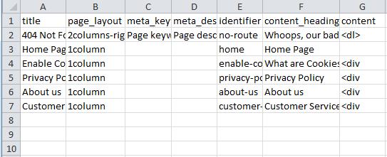 Import multiple CMS pages via a CSV file