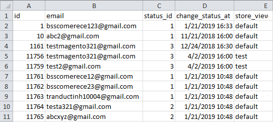 CSV file to import subscribers
