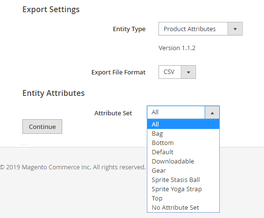 Export settings