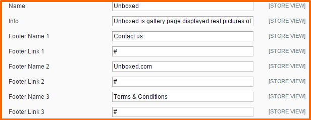 magento unboxed edit footer links