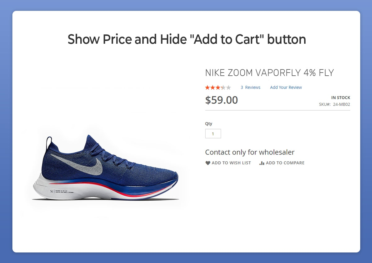 magento 2 show price and hide add to cart