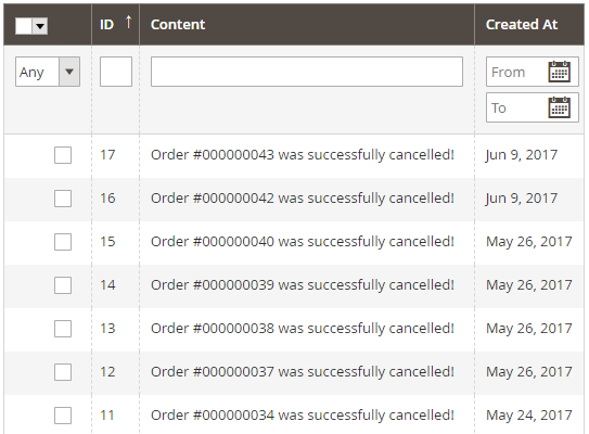 history of all canceled orders