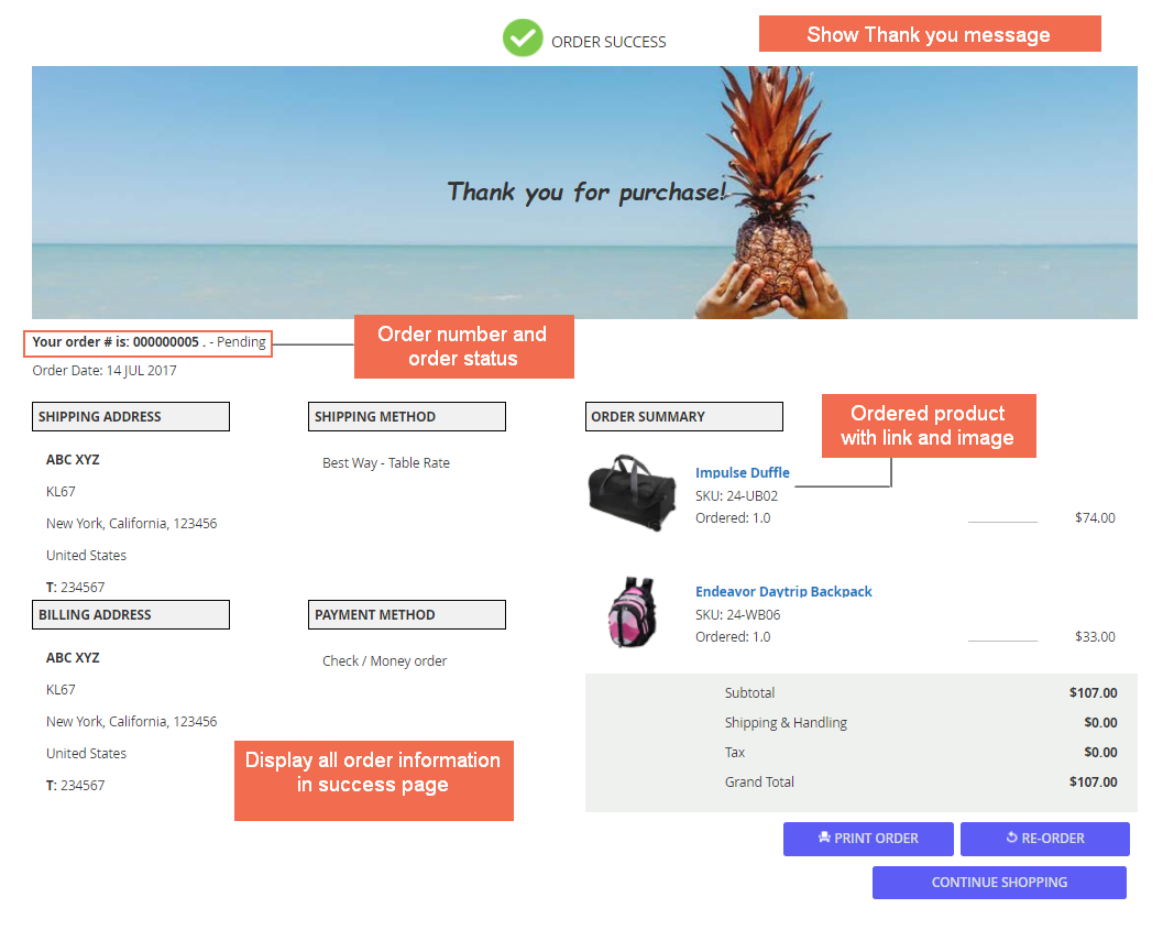 Display order information - Magento 2 checkout success page extension