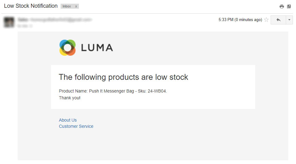 notification emails of low stock