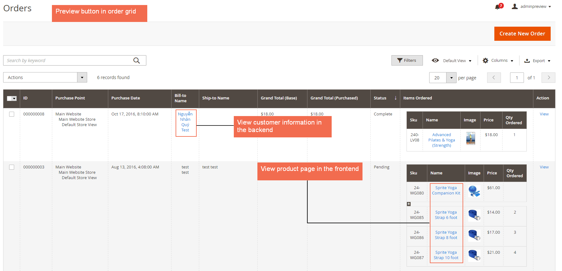 magento 2 Extended Order Grid with preview links to preview information of ordered products