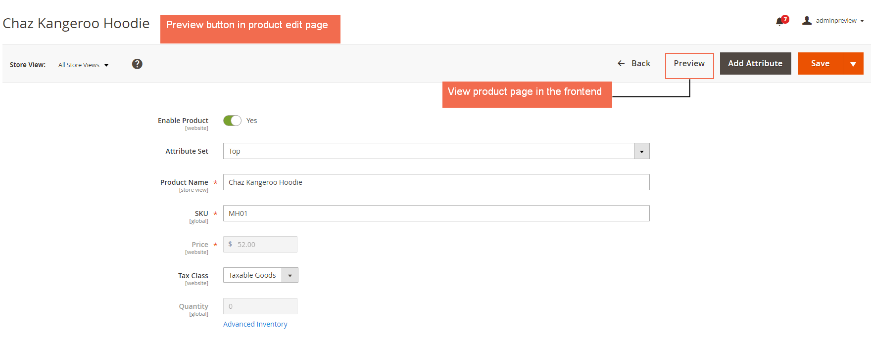 magento 2 Add preview buttons to preview Product Pages in the frontend from admin panel