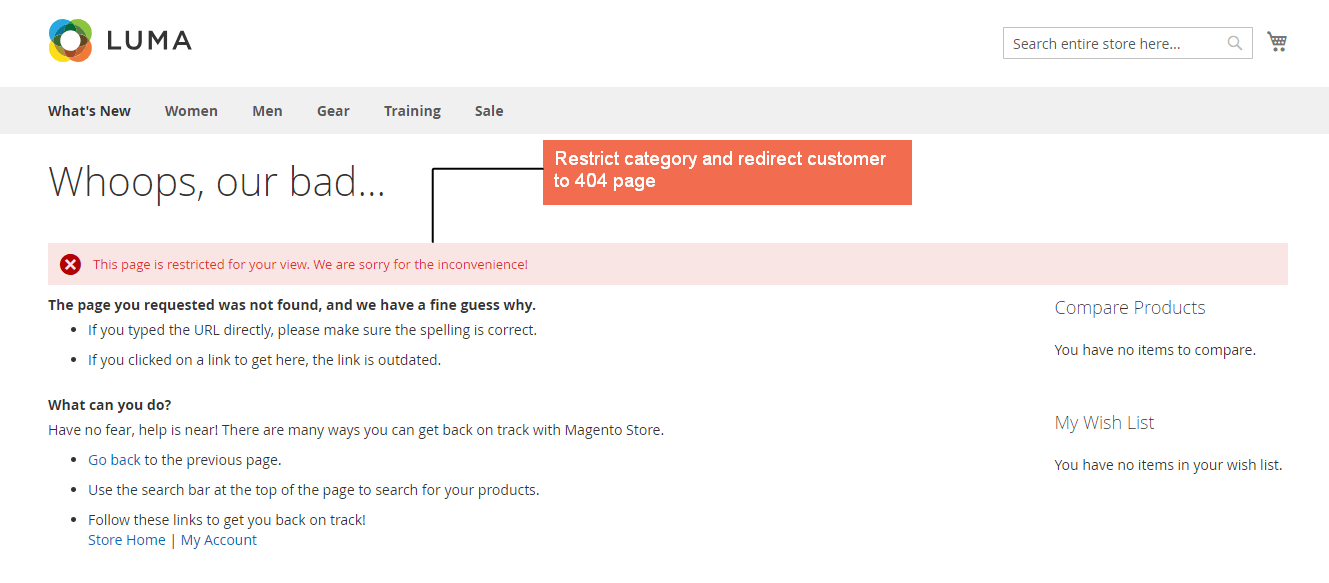 magento 2 catalog permission extension disables the category page