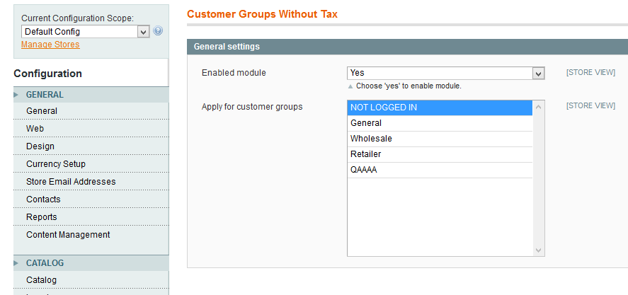Magento Customer Group Without Tax Extension_backend