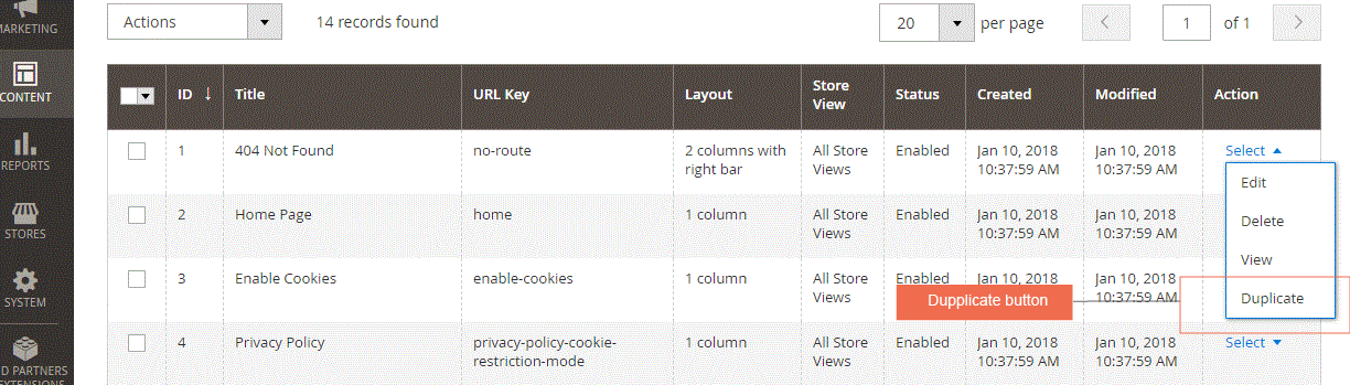 magento 2 duplicate cms page and block extension-grid table view