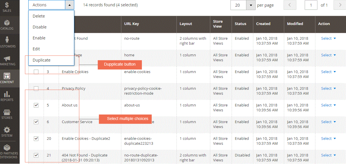 magento 2 duplicate cms page and block extension-cms page grid view