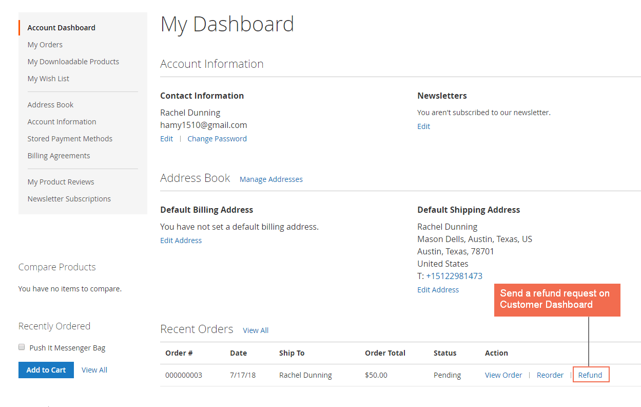 magento 2 send refund on customer account dashboard