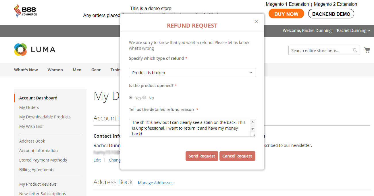 magento 2 refund popup to send the refund request