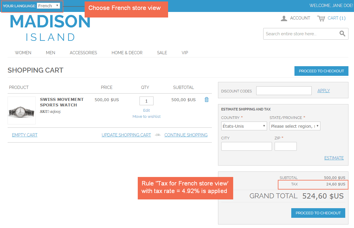 tax for French store view Magento