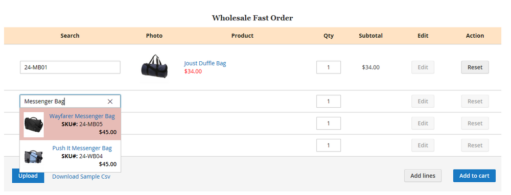 Magento 2 Quick Order form
