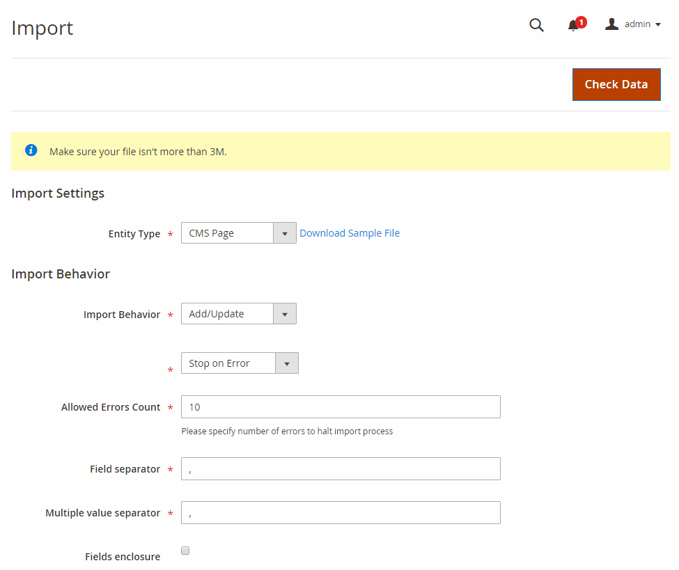 magento-2-import-export-cms-page-extension-import-settings