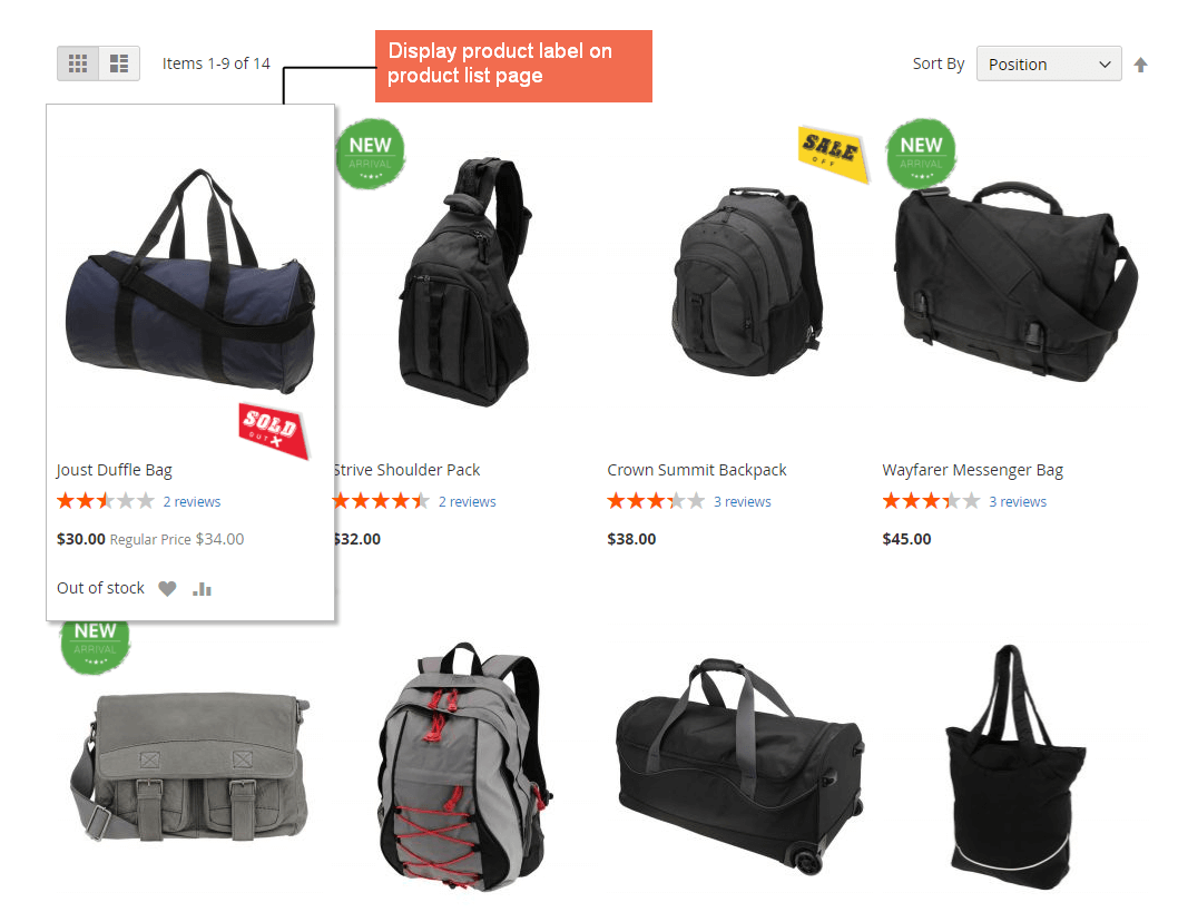 Magento 2 Product Label extension adds image label to product listing