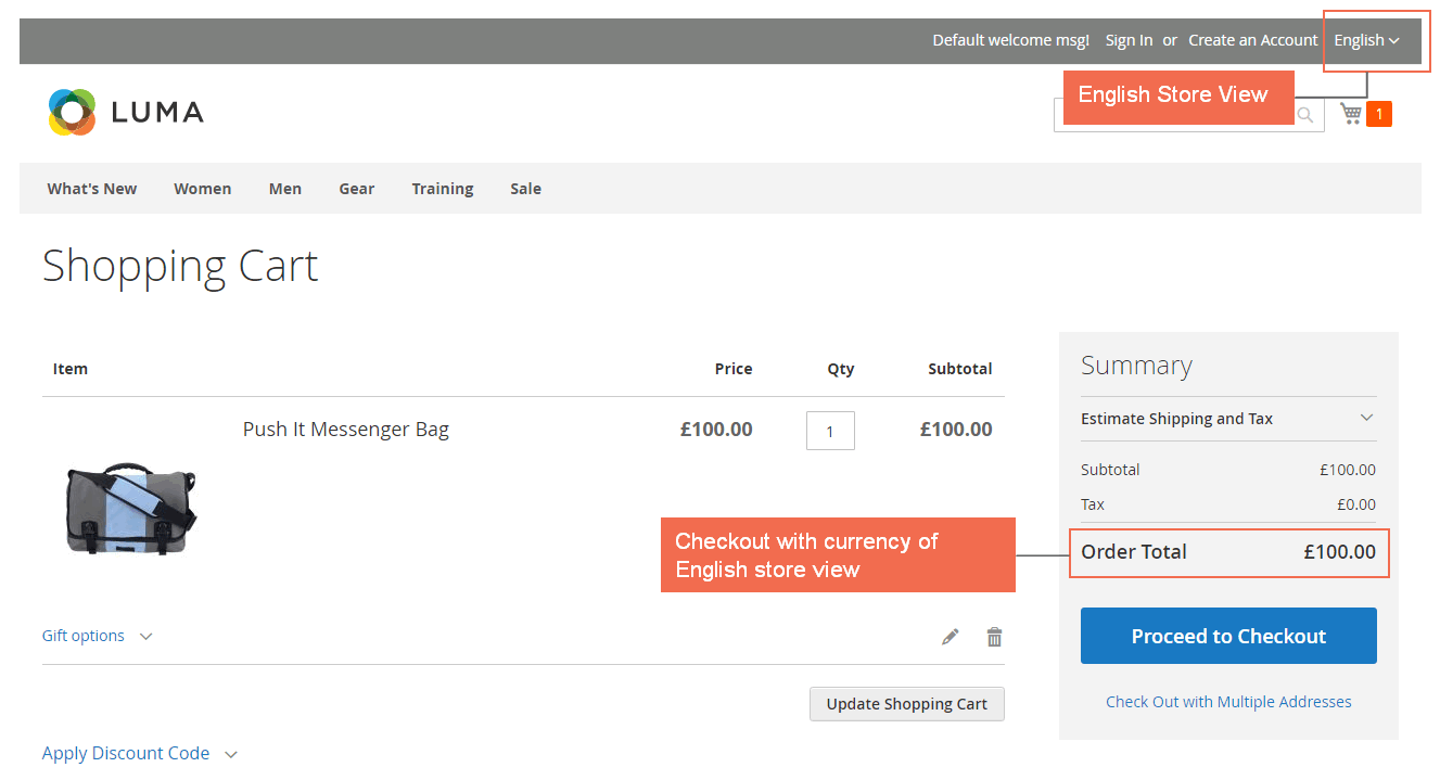 magento 2 multiple store view pricing-checkout with english currency