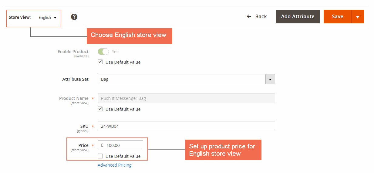 magento 2 multiple store view pricing- setup price in english