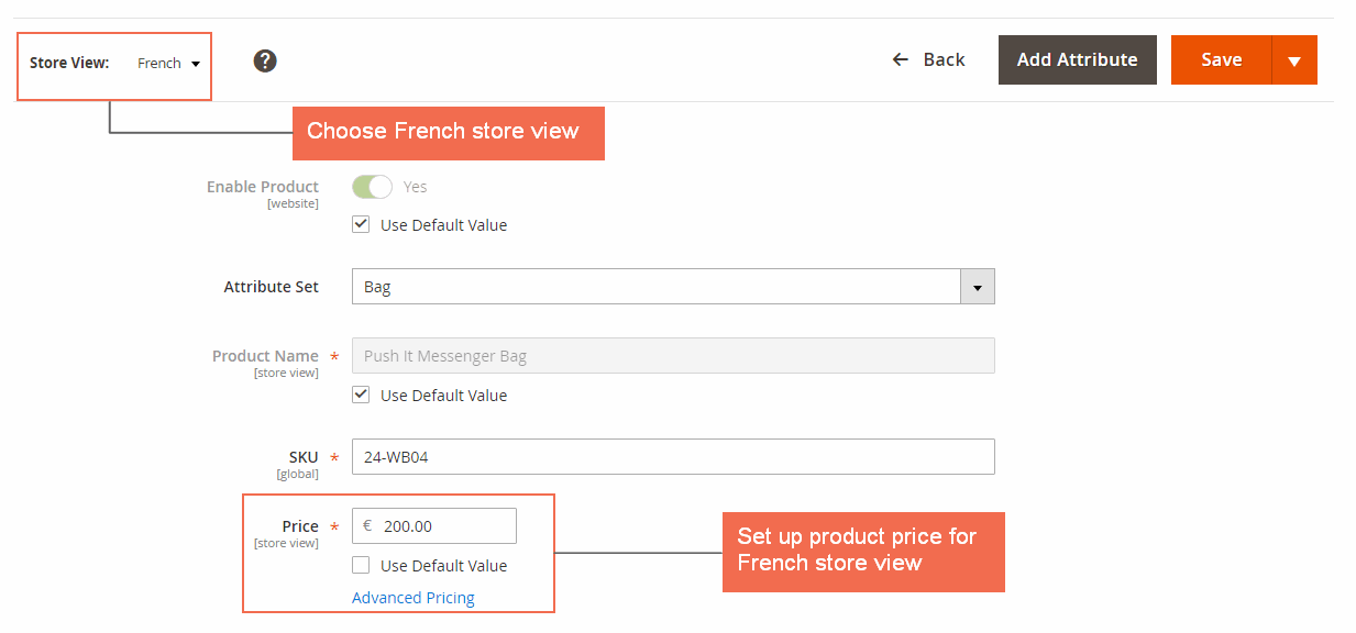 magento 2 multiple store view pricing- setup price in french