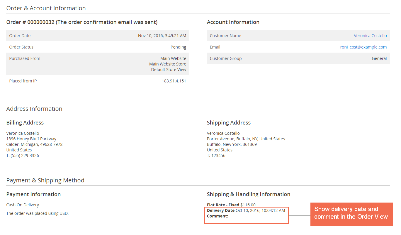 magento 2 one step checkout-delivery date in order view